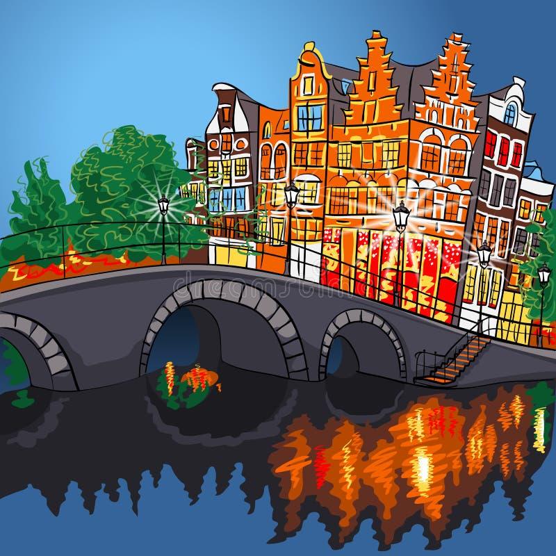 Vector Nachtstadtansicht von Amsterdam-Kanal und -brücke stock abbildung