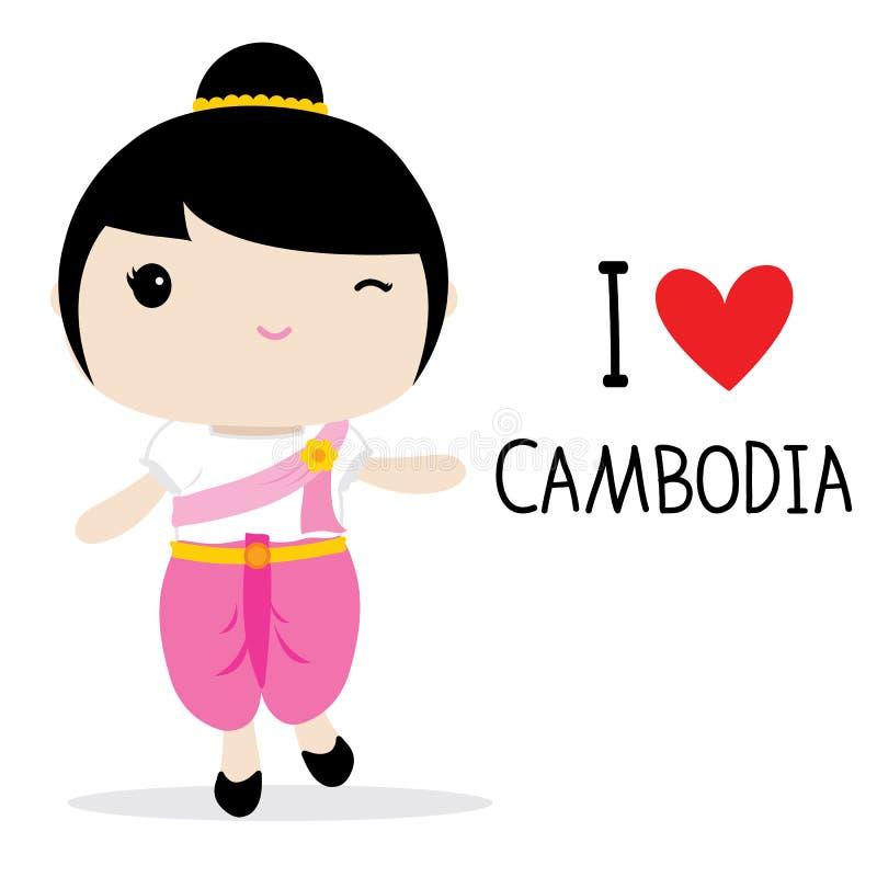 Vector nacional de la historieta del vestido de las mujeres de Camboya stock de ilustración