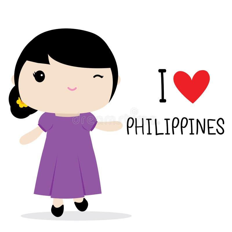 Vector nacional de la historieta del vestido de las mujeres de Filipinas ilustración del vector