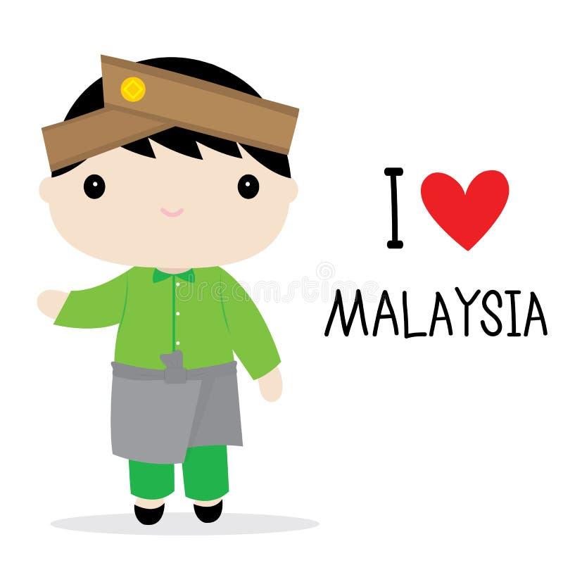 Vector nacional de la historieta del vestido de los hombres de Malasia stock de ilustración
