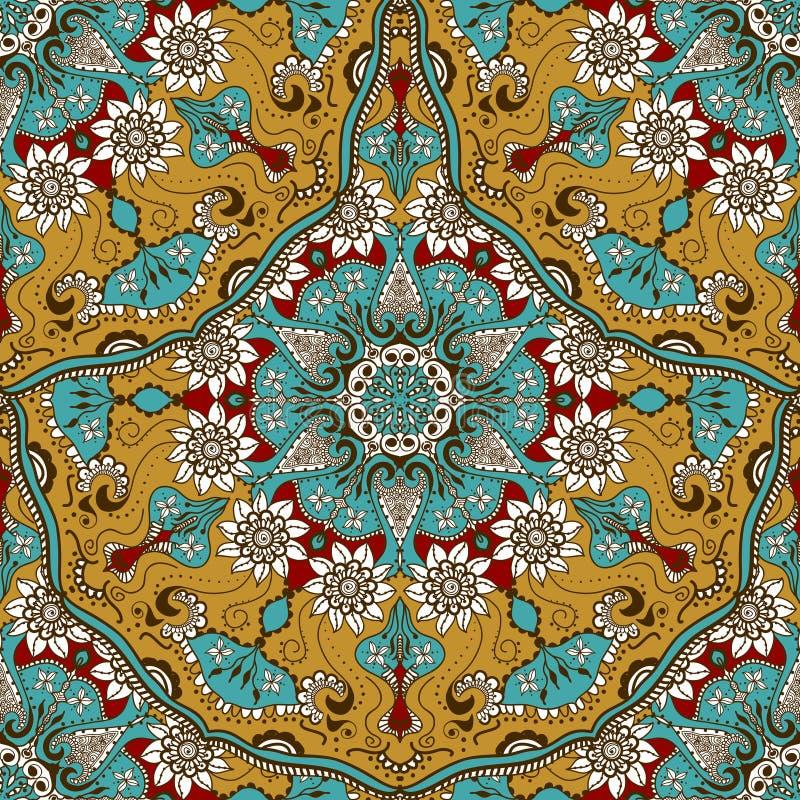 Vector nahtlose Beschaffenheit mit Blumenmandala in der indischen Art Mehndi-Ornamentalhintergrund lizenzfreie abbildung