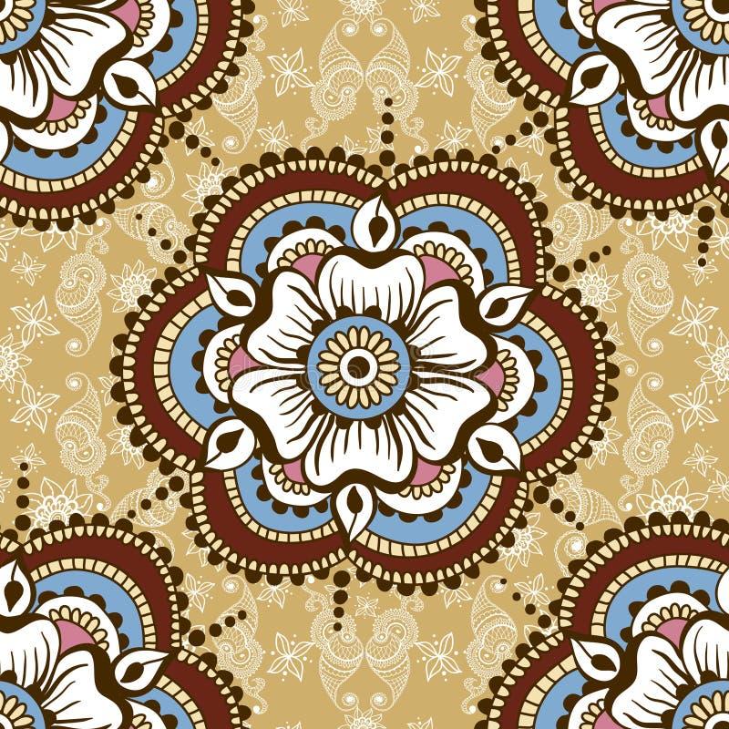 Vector nahtlose Beschaffenheit mit Blumenverzierung in der indischen Art Mehndi-Ornamentalmuster Hand gezeichnetes ethnisches Des lizenzfreie abbildung