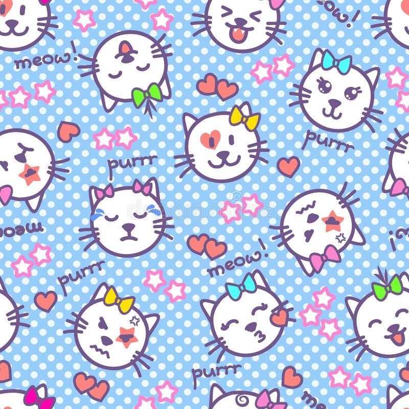 Vector nahtlose Beschaffenheit mit Kätzchen mit Gefühlen auf ihren Mündungen Kawaii-Katzengesichter, Wörter, Sterne, Herzen für B lizenzfreie abbildung