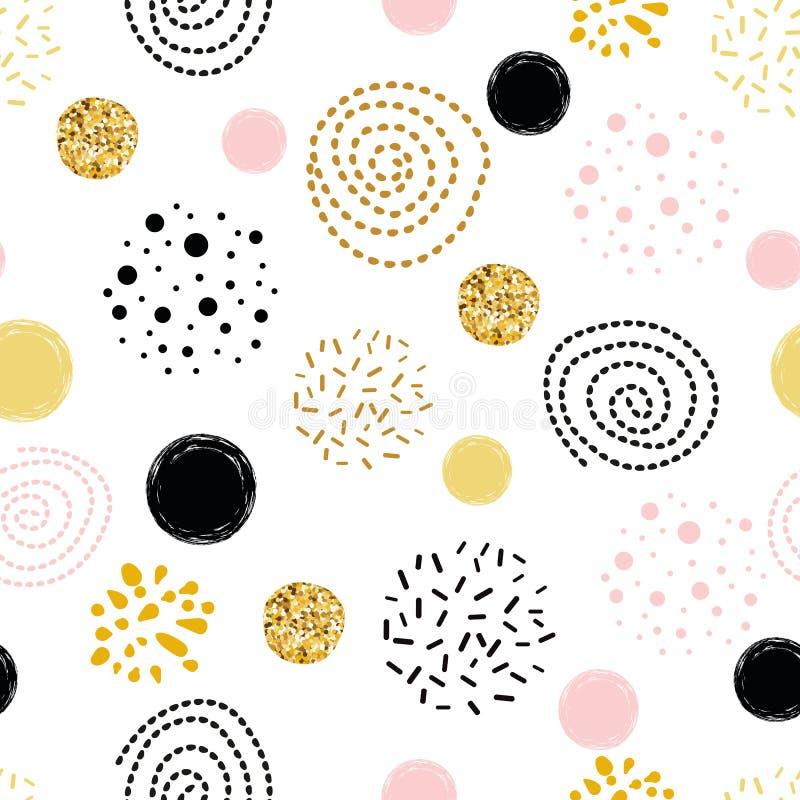 Vector nahtlose goldene der Mustertupfen-Zusammenfassung Verzierung verzierte, rosa, schwarze Handgezeichnete Kreiselemente lizenzfreie abbildung