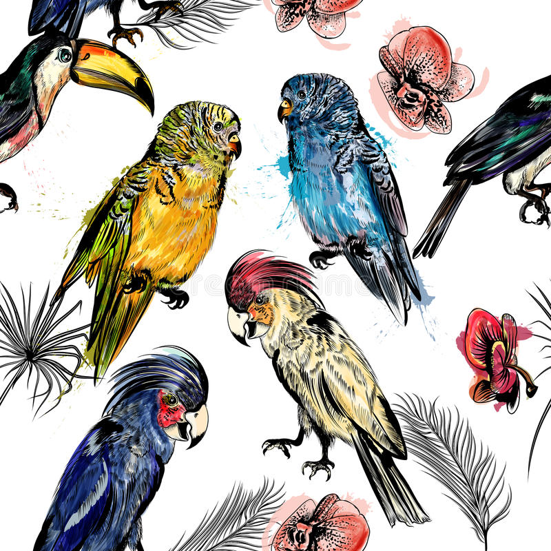 Vector nahtlose Illustration auf tropischen ThemaPalmblättern und stock abbildung