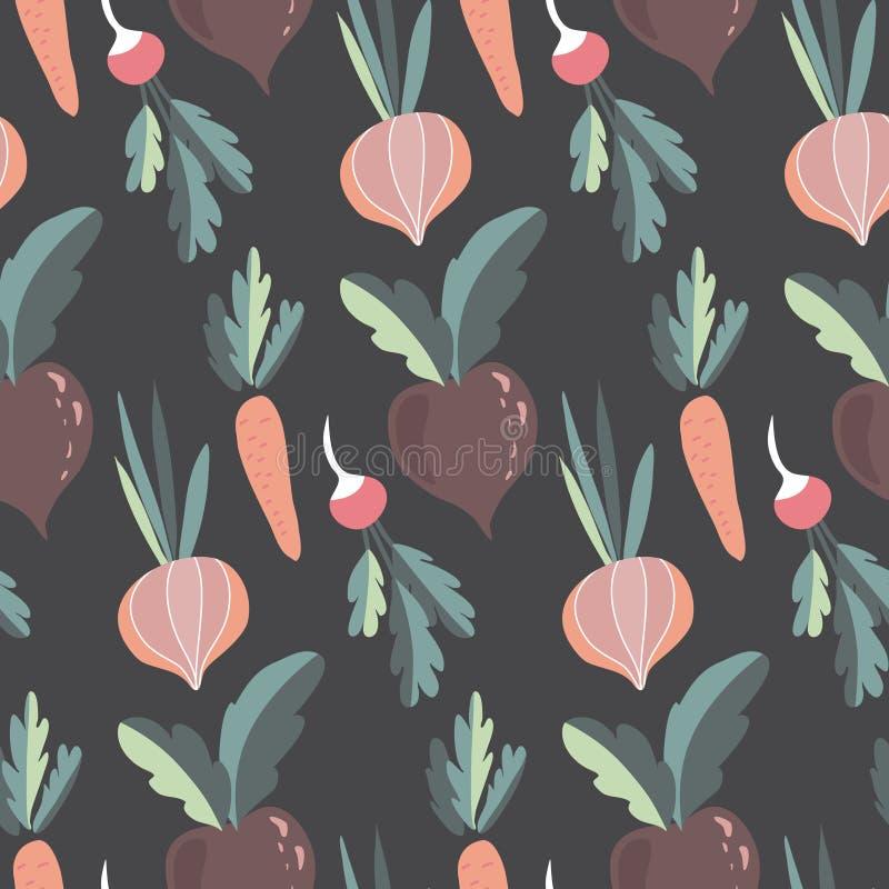 Vector nahtlose Muster mit bunten, frischen organischen Gemüsen Ungefähre gesunde Lebensmittel, veganischer, landwirtschaftlich g lizenzfreie abbildung