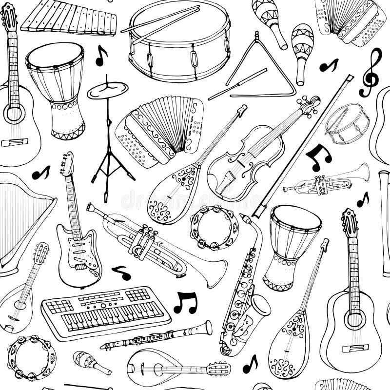 Vector nahtlose Muster von Musikinstrumenten lizenzfreie abbildung