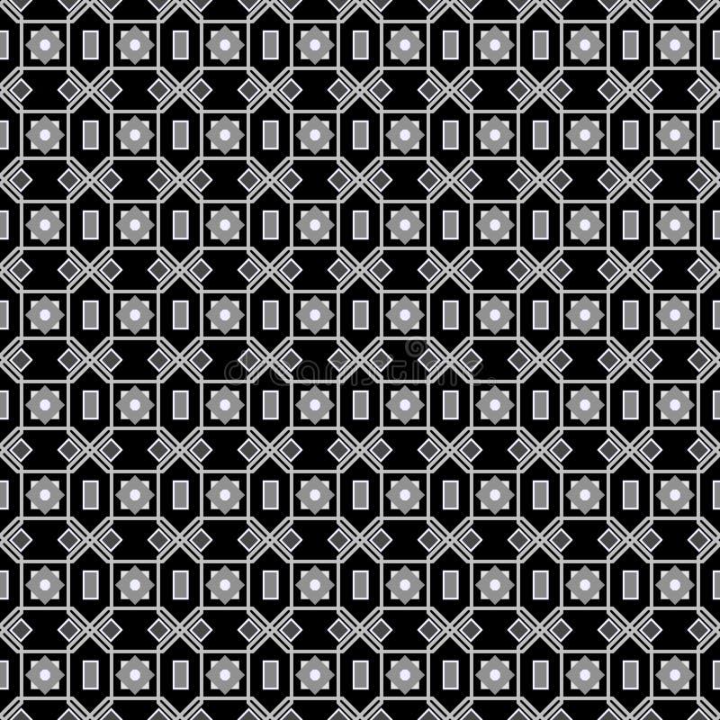 Vector nahtlose unregelmäßige Dreieck-Schwarzweiss-Linien geometrisches Muster-Zusammenfassungs-Hintergrundarabisch stock abbildung