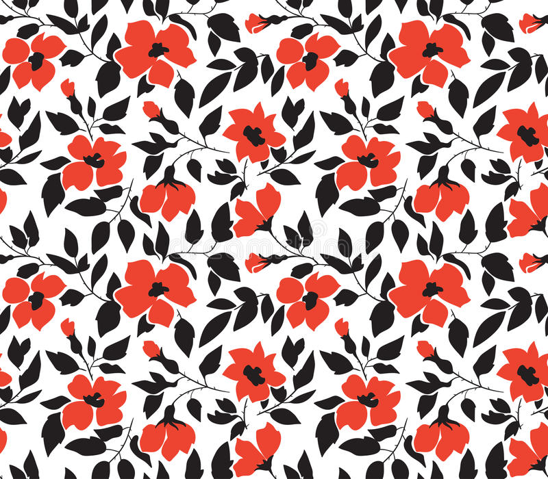 Vector nahtlosen Hintergrund mit wilden Rosen, Weinleseart Hand gezeichnetes Gewebe-Design Stilvolles helles nahtloses mit Blumen stock abbildung