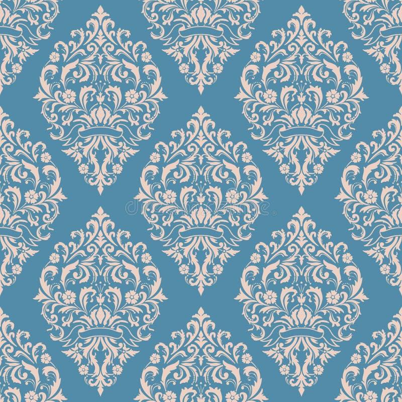 Vector nahtlosen Musterhintergrund des Damastes Klassische altmodische Damastluxusverzierung, königlicher Victorian nahtlos lizenzfreie abbildung