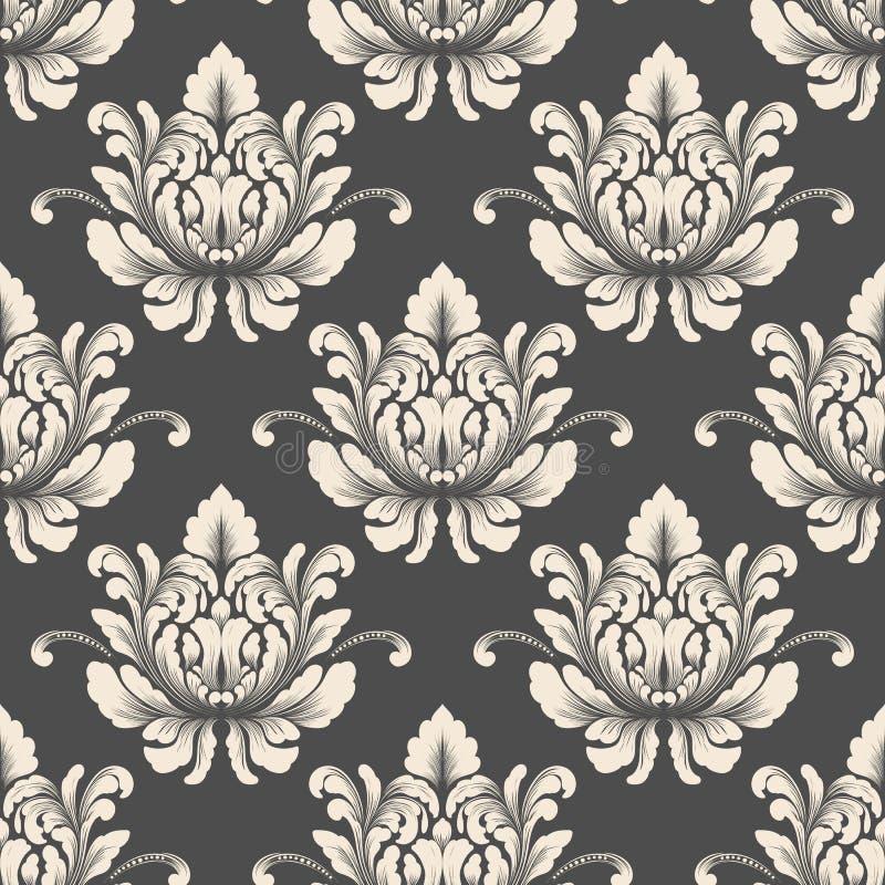 Vector nahtlosen Musterhintergrund des Damastes Klassische altmodische Damastluxusverzierung, königlicher Victorian nahtlos stock abbildung