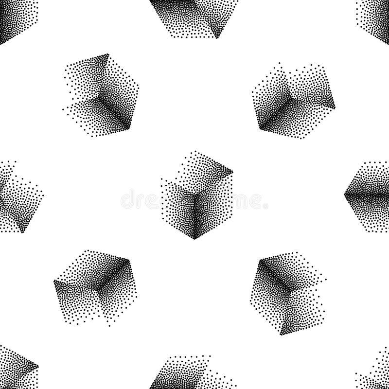 Vector nahtloses abstraktes Muster mit punktierten Würfeln auf einem weißen Hintergrund vektor abbildung