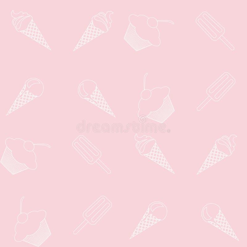 Vector nahtloses Eiscreme- und Kuchenmuster in den empfindlichen, zarten rosa und weißen Farben vektor abbildung