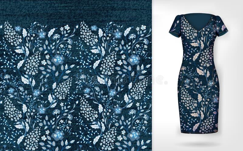 Vector nahtloses mit Blumenmuster des Denims auf realistischem Kleidermodell lizenzfreie abbildung