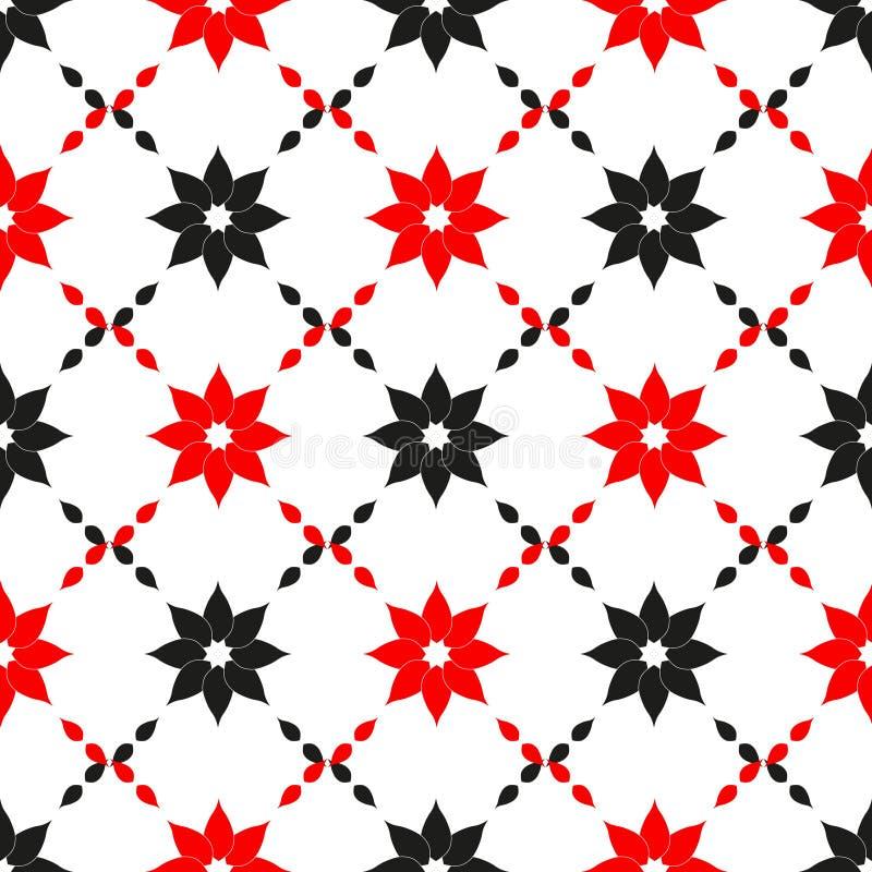Vector nahtloses Muster Abstrakter Entwurf mit den roten und schwarzen Blumen Einfacher minimalistic mit Blumenhintergrund lizenzfreie abbildung