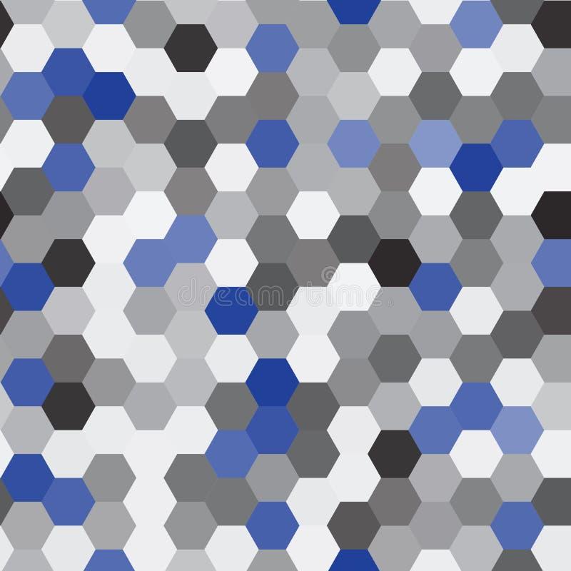 Vector nahtloses Muster abstrakter Hintergrund Wiederholen des Hexagon-geometrischen Hintergrundes Schwarze, graue und blaue Farb stock abbildung