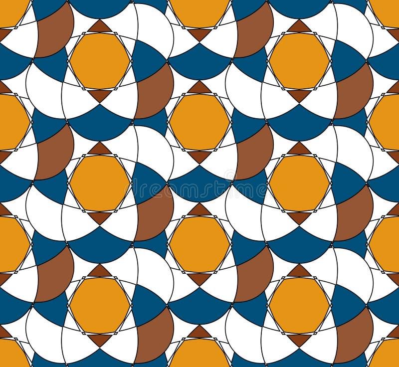 Vector nahtloses Muster Abstraktes Muster mit kontrastierenden Farben Gelbe, blaue und braune Farben vektor abbildung