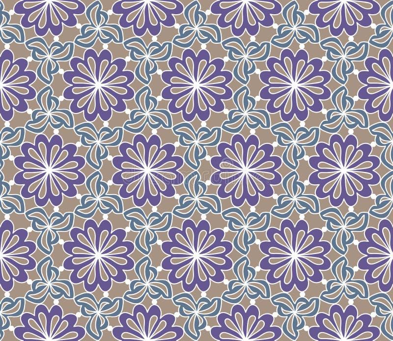 Vector nahtloses Muster Dekorative stilisierte Blumen mit Blättern Entziehen Sie Hintergrundbeschaffenheit lizenzfreie abbildung