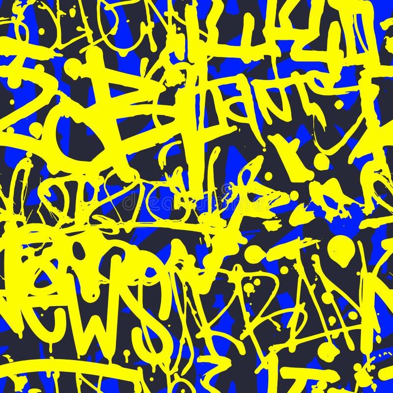 Vector nahtloses Muster der Graffiti mit abstraktem buntem hellem t stock abbildung