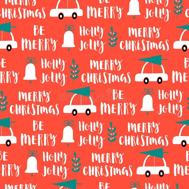 Vector nahtloses Muster der Weihnachtswörter auf rotem Hintergrund stock abbildung