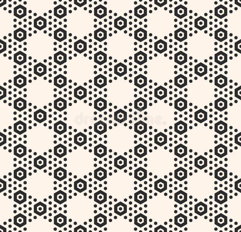Vector nahtloses Muster des geometrischen Hexagons und weiße Bienenwabenbeschaffenheit mit kleinen Hexenformen lizenzfreie abbildung