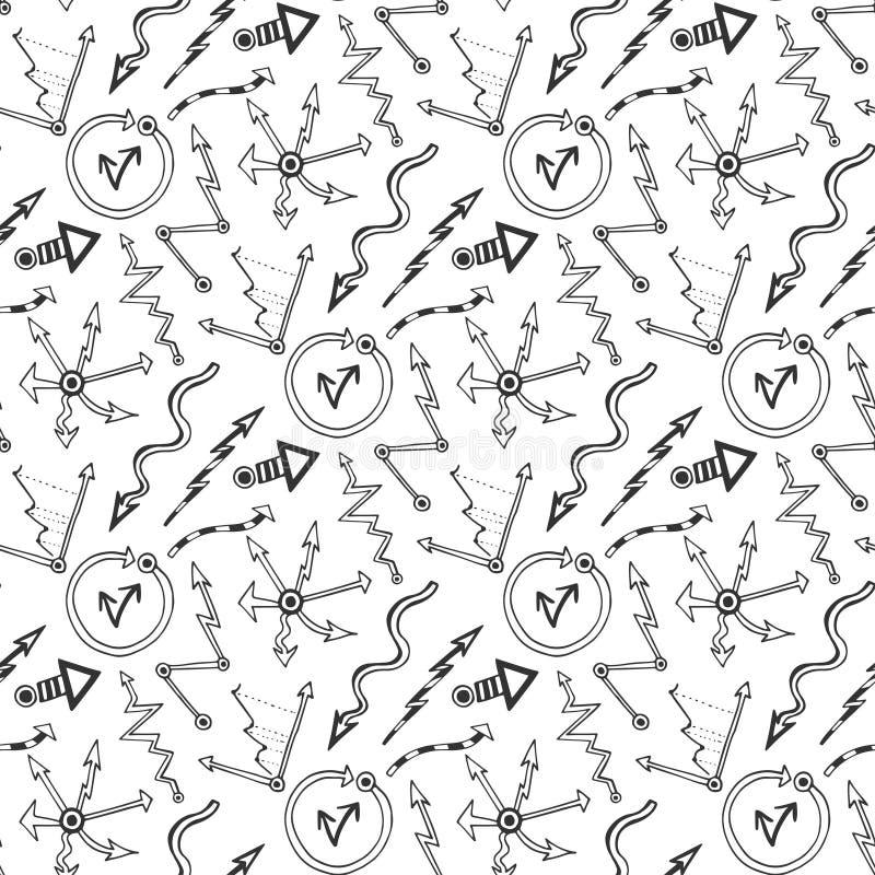 Vector nahtloses Muster des Geschäfts mit Gekritzelpfeilen und Diagrammelementen Schwarzweiss-flüchtiges für Geschäftsdarstellung lizenzfreie abbildung