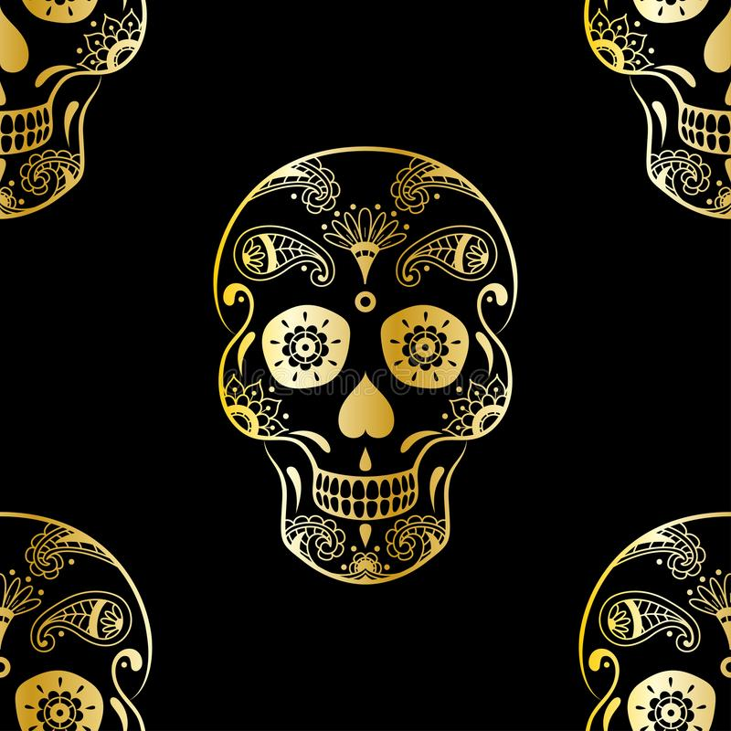 Vector nahtloses Muster des goldenen Zuckerschädels mit Gekritzelflorenelementen auf schwarzem Hintergrund Hintergrund für mexika lizenzfreie abbildung