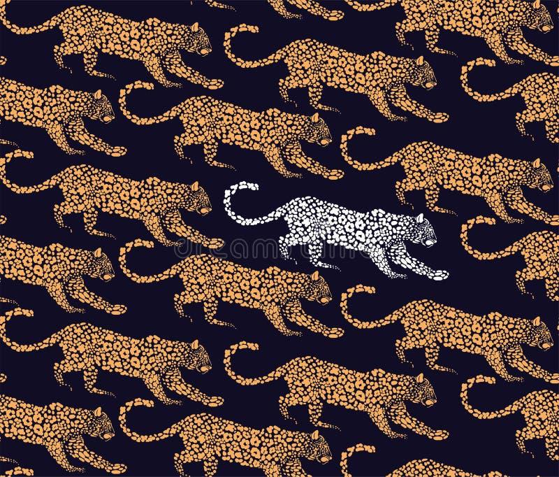 Vector nahtloses Muster des Leoparden mit grafischen Elementen für den Druck auf Gewebe lizenzfreie abbildung