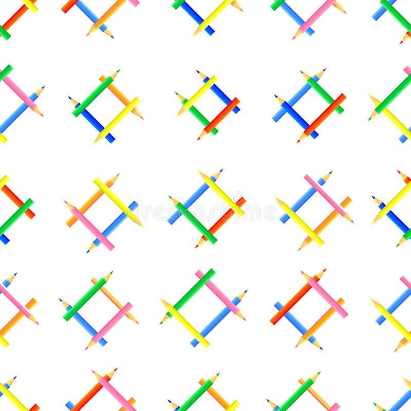 Vector nahtloses Muster Dreieckige Formen geschaffen von farbigen Bleistiften stock abbildung