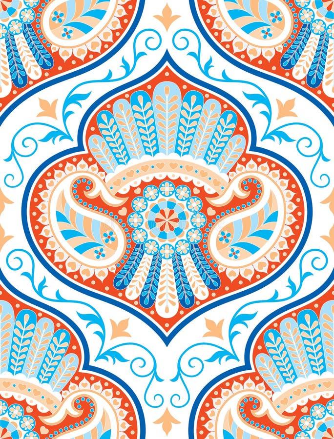 Vector nahtloses Muster für aufwändigen Dekor der Designschablonen-Weinlese Ostartelement Orientalische Luxusdekoration stock abbildung