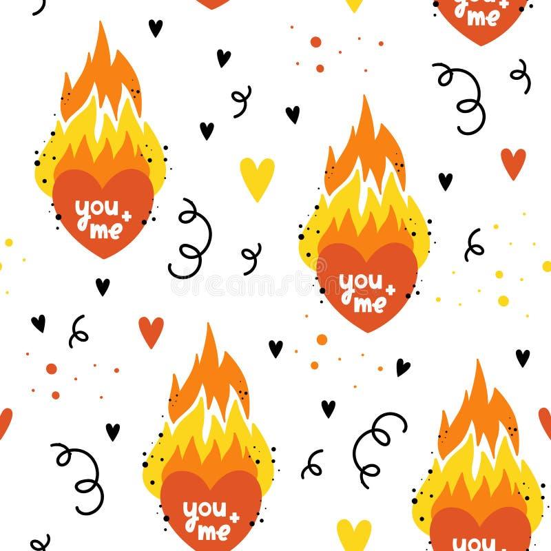 Vector nahtloses Muster für Valentinsgruß ` s Tag Flammenherz, Feuer Von Hand gezeichnete Art Überlagert, einfach zu bearbeiten vektor abbildung