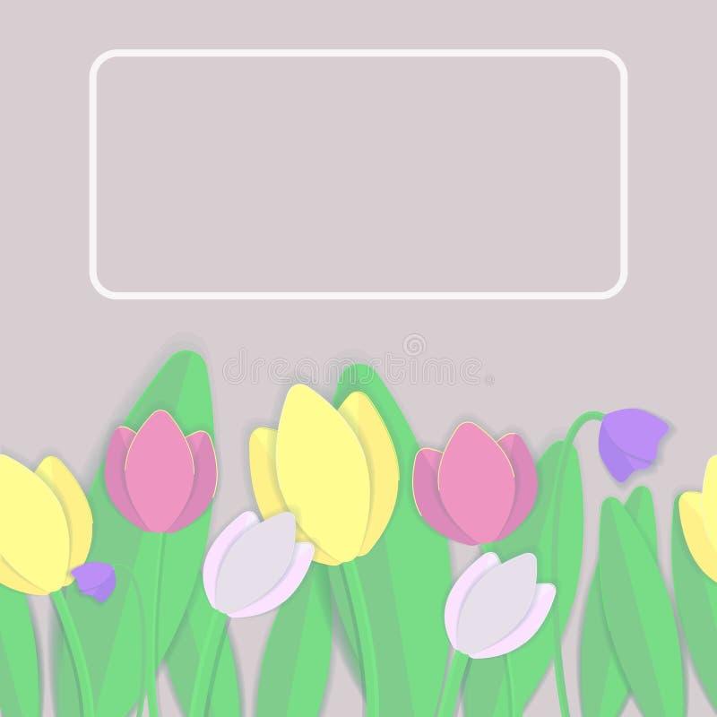 Vector nahtloses Muster Mehrfarbige Tulpen und Blätter vektor abbildung