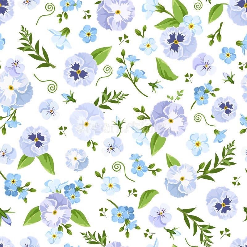 Vector nahtloses Muster mit blauen Stiefmütterchen- und Vergissmeinnichtblumen vektor abbildung