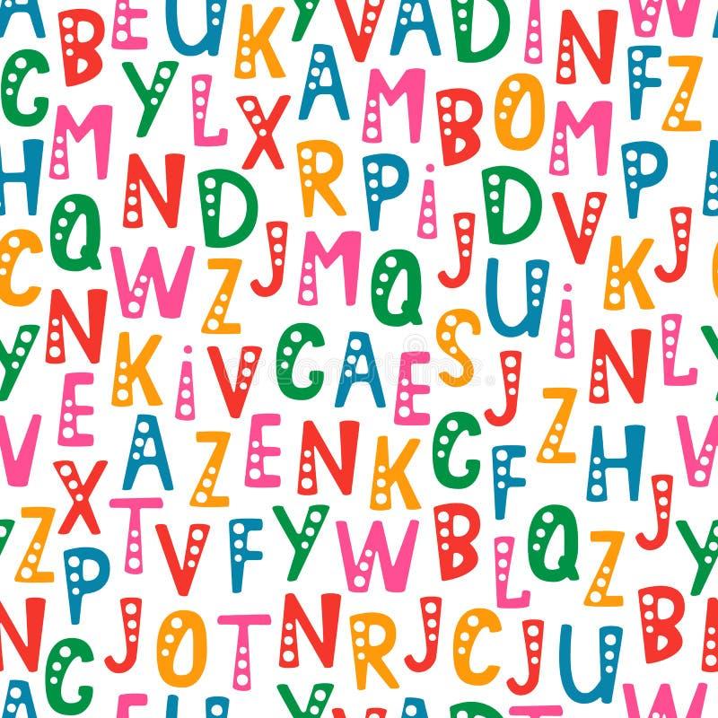 Vector nahtloses Muster mit Buchstaben des Alphabetes in der gelegentlichen Bestellung stockfotografie