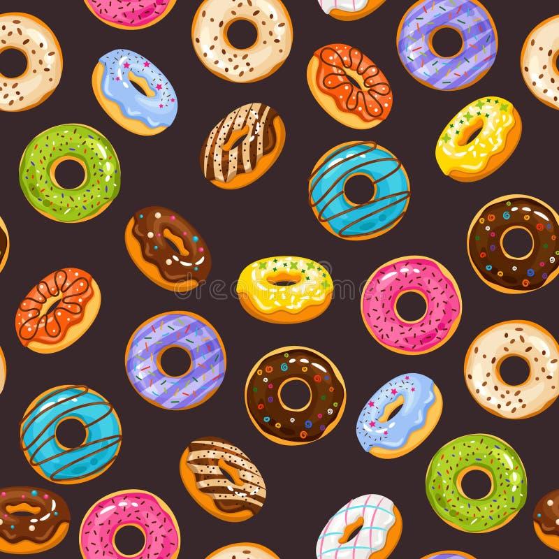 Vector nahtloses Muster mit bunter Glasur und besprüht Schaumgummiringschokoladendonut stock abbildung