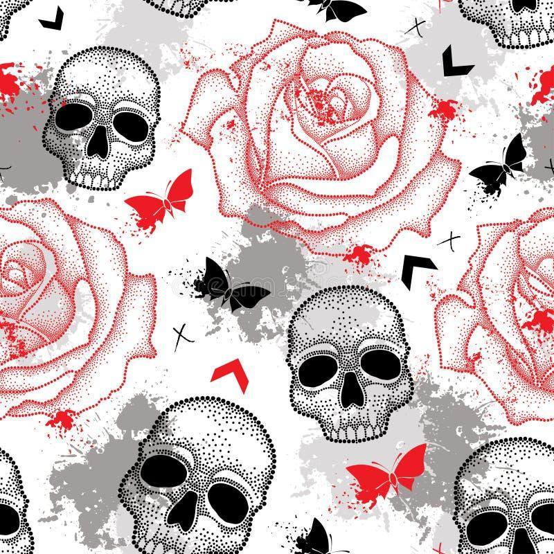 Vector nahtloses Muster mit dem punktierten Schädel, den offenen Rosen, den Pfeilen, den Schmetterlingen und den Flecken in Rotem stock abbildung
