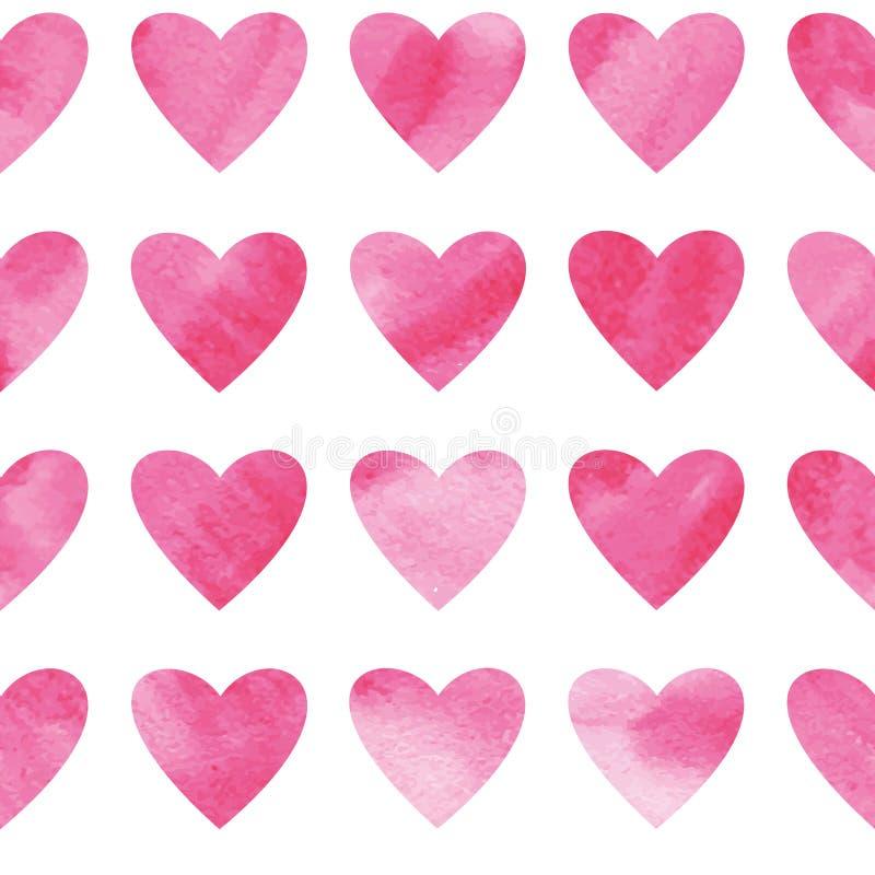 Vector nahtloses Muster mit den Herzen, die durch Aquarell gemalt werden Nahtloses Muster der Pincherzen vektor abbildung