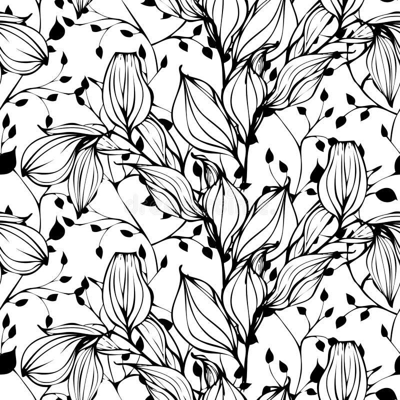 Vector nahtloses Muster mit der Hand, die Schwarzweiss-Blätter zeichnet stock abbildung