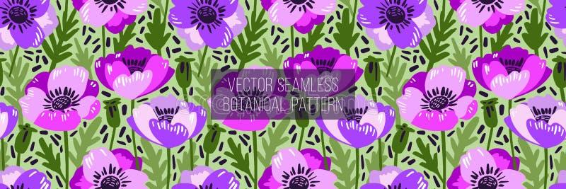 Vector nahtloses Muster mit der Hand, die wilde Blumen, bunte botanische Illustration, Florenelemente zeichnet, die gezeichnete H vektor abbildung