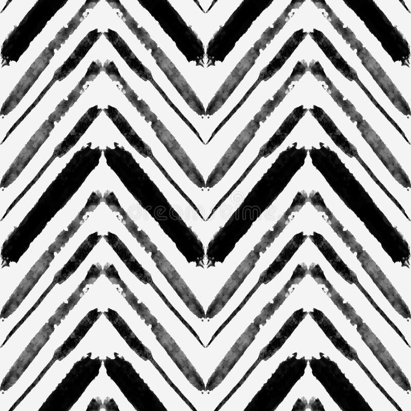 Vector nahtloses Muster mit ethnischen Zickzacklinien des Aquarells stock abbildung