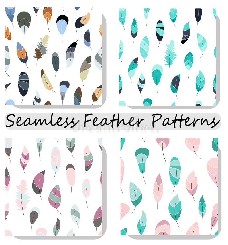 Vector nahtloses Muster mit Federn Sammlung, gesetzte Drucke, Beschaffenheit, Tapeten, Hintergründe stock abbildung
