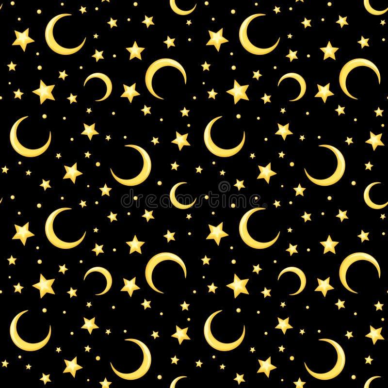 Vector nahtloses Muster mit gelben Sternen und Halbmonden auf Schwarzem stock abbildung