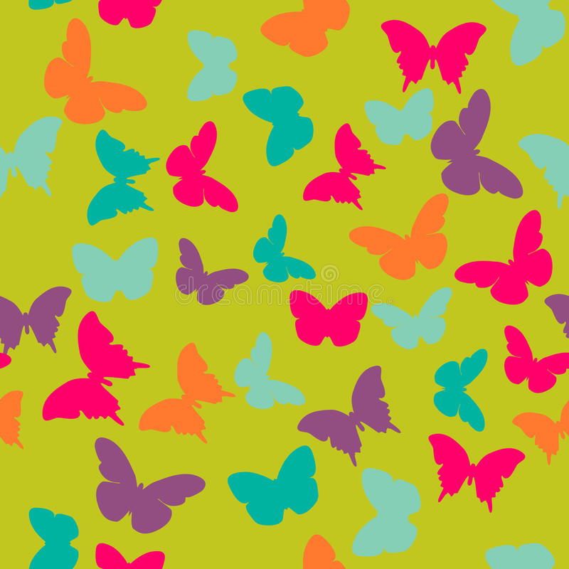 Vector nahtloses Muster mit gelegentlichen orange, blauen, rosa, purpurroten Schmetterlingen auf grünem Hintergrund vektor abbildung