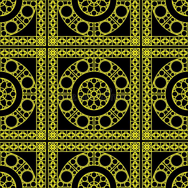 Vector nahtloses Muster mit geometrischer Verzierung für Badezimmer, Fliesen, Tapete, die Verpackung, usw. Helle gelbe Beschaffen lizenzfreie abbildung