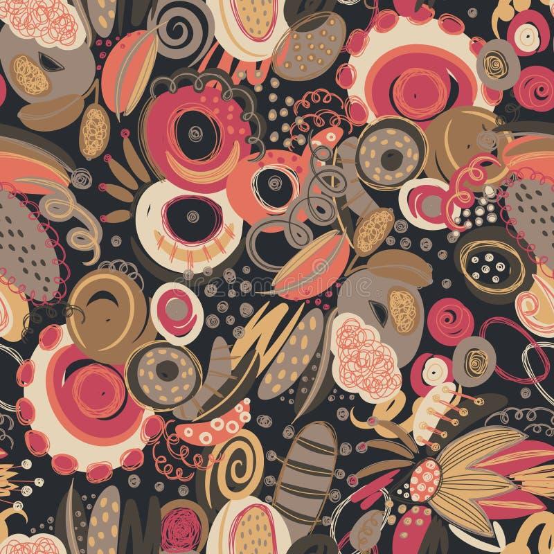 Vector nahtloses Muster mit Hand gezeichneten abstrakten Formen, Gekritzel, spirales Flecke und Stellen der Farbe lizenzfreie abbildung