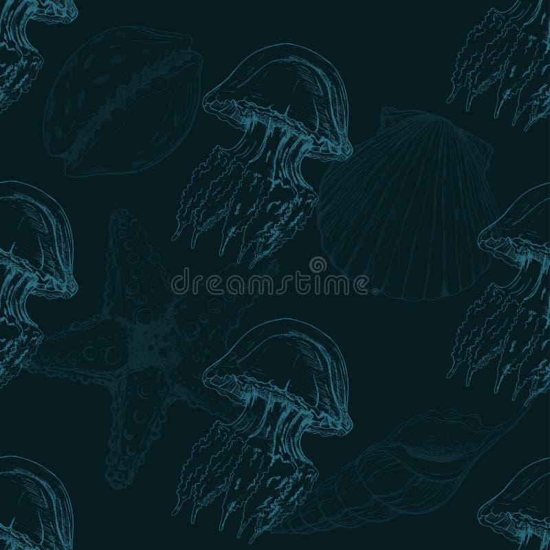 Vector nahtloses Muster mit Hand gezeichneten Seeoberteilen, Seestern und Quallenskizze Hintergrund mit Seeoberteilen vektor abbildung
