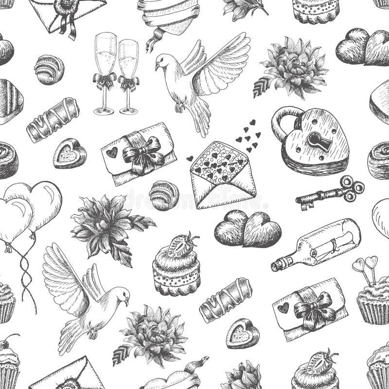 Vector nahtloses Muster mit Hand gezeichneten Valentinstagelementen auf einem weißen Hintergrund stock abbildung