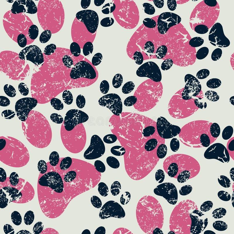 Vector nahtloses Muster mit Katzen- oder Hundeabdrücken Nettes colorfu lizenzfreies stockfoto