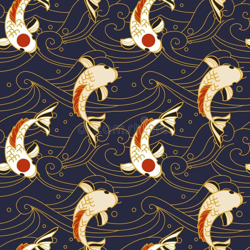 Vector nahtloses Muster mit koi Fischen und Wellen in der japanischen Art vektor abbildung