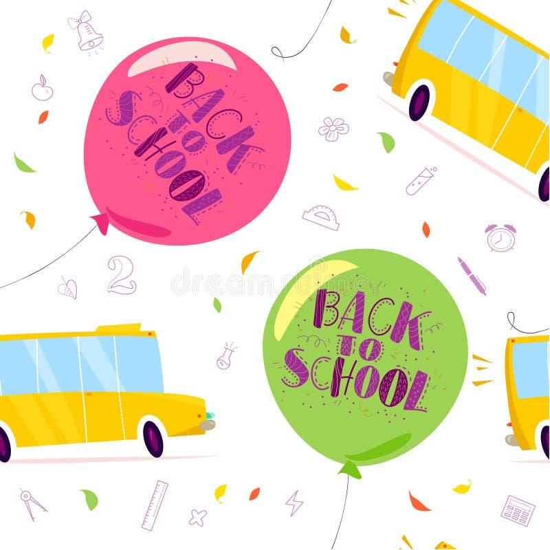 Vector nahtloses Muster mit Luftballonen, Beschriftung, gelbem Schulbus und Hand gezeichneten Schulgekritzelelementen auf weißem  vektor abbildung